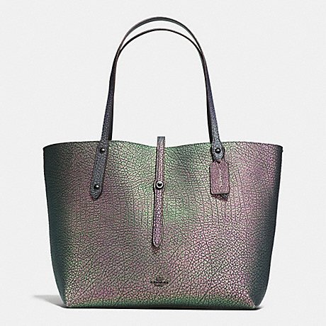 COACH f54631 MARKET TOTE IN HOLOGRAM LEATHER DARK GUNMETAL/HOLOGRAM