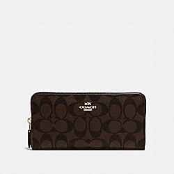 COACH F54632 Accordion Zip Wallet In Signature IMITATION GOLD/BROWN/BLACK