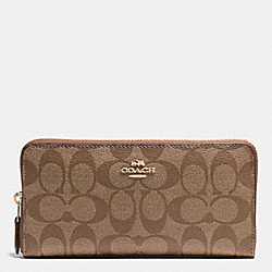 COACH F54632 Accordion Zip Wallet In Signature IMITATION GOLD/KHAKI/SADDLE