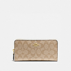 COACH F54632 Accordion Zip Wallet In Signature IMITATION GOLD/LIGHT KHAKI/CHALK