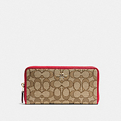 COACH F54633 Accordion Zip Wallet In Outline Signature IMITATION GOLD/KHAKI/TRUE RED