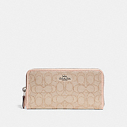COACH F54633 Accordion Zip Wallet LIGHT KHAKI/LIGHT PINK/SILVER