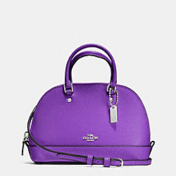 COACH F54661 Micro Mini Sierra Satchel In Crossgrain Leather SILVER/PURPLE