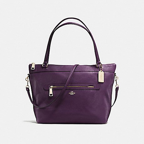 COACH F54687 TYLER TOTE IN PEBBLE LEATHER IMITATION-GOLD/AUBERGINE