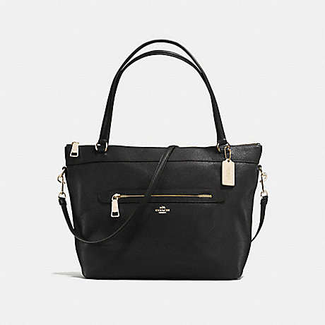 COACH f54687 TYLER TOTE IN PEBBLE LEATHER IMITATION GOLD/BLACK
