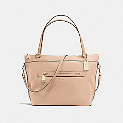 TYLER TOTE IN PEBBLE LEATHER - f54687 - LIGHT GOLD/BEECHWOOD