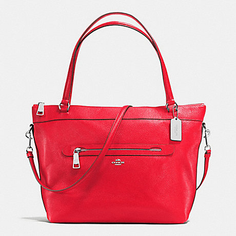 COACH f54687 TYLER TOTE IN PEBBLE LEATHER SILVER/BRIGHT RED