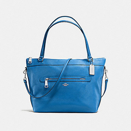 COACH f54687 TYLER TOTE IN PEBBLE LEATHER SILVER/LAPIS