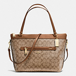 COACH F54690 Tyler Tote In Signature IMITATION GOLD/KHAKI/SADDLE