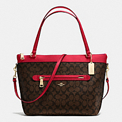 COACH F54690 Tyler Tote In Signature IMITATION GOLD/BROW TRUE RED