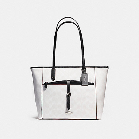COACH f54700 CITY TOTE WITH POUCH IN SIGNATURE COATED CANVAS SILVER/CHALK