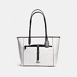 CITY TOTE WITH POUCH IN SIGNATURE COATED CANVAS - f54700 - SILVER/CHALK