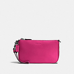 COACH F54750 Nolita Wristlet 19 In Glovetanned Leather DARK GUNMETAL/CERISE