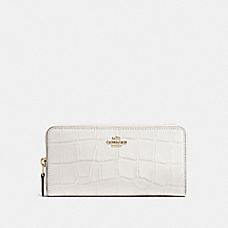 COACH F54757 Accordion Zip Wallet In Croc Embossed Leather IMITATION GOLD/CHALK