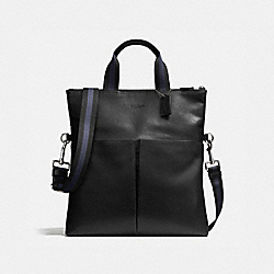 CHARLES FOLDOVER TOTE IN SMOOTH LEATHER - f54759 - BLACK