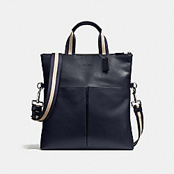 COACH F54759 Charles Foldover Tote In Smooth Leather MIDNIGHT