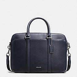 COACH F54763 Perry Slim Brief In Crossgrain Leather MIDNIGHT