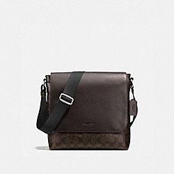 COACH F54771 Charles Small Messenger In Signature MAHOGANY/BROWN