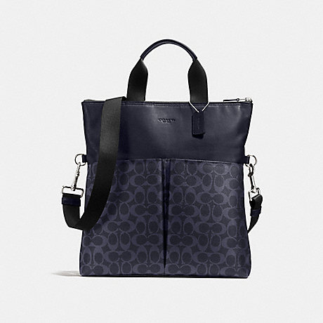 COACH f54774 CHARLES FOLDOVER TOTE IN SIGNATURE MIDNIGHT