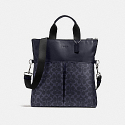 CHARLES FOLDOVER TOTE IN SIGNATURE - f54774 - MIDNIGHT