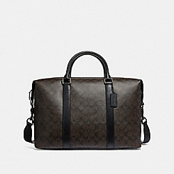VOYAGER BAG IN SIGNATURE CANVAS - f54776 - BROWN BLACK/BLACK/BLACK ANTIQUE NICKEL