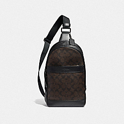 COACH F54787 Charles Pack In Signature Canvas MAHOGANY/BLACK/BLACK ANTIQUE NICKEL
