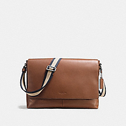 CHARLES MESSENGER IN SMOOTH LEATHER - f54792 - DARK SADDLE