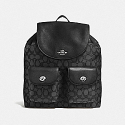 BILLIE BACKPACK IN OUTLINE SIGNATURE - f54795 - SILVER/BLACK SMOKE/BLACK