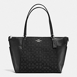 COACH F54797 Ava Tote In Outline Signature SILVER/BLACK/BLACK