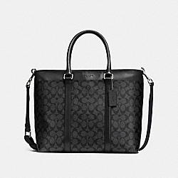 PERRY BUSINESS TOTE IN SIGNATURE - f54799 - CHARCOAL/BLACK