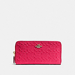 COACH F54805 Accordion Zip Wallet In Signature Debossed Patent Leather IMITATION GOLD/BRIGHT PINK