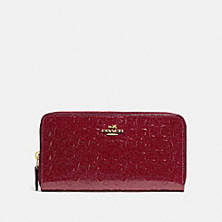 COACH F54805 Accordion Zip Wallet In Signature Leather CHERRY /LIGHT GOLD