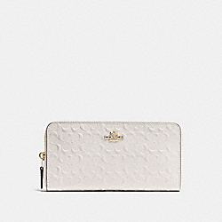 COACH F54805 Accordion Zip Wallet In Signature Debossed Patent Leather IMITATION GOLD/CHALK