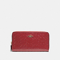 COACH F54805 Accordion Zip Wallet LIGHT GOLD/DARK RED