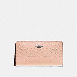 COACH F54805 Accordion Zip Wallet SILVER/LIGHT PINK