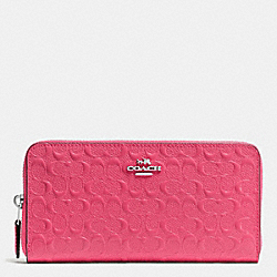 COACH F54805 Accordion Zip Wallet In Signature Debossed Patent Leather SILVER/STRAWBERRY
