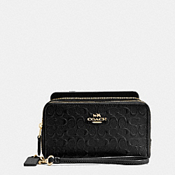 COACH F54808 Double Zip Phone Wallet In Signature Debossed Patent Leather IMITATION GOLD/BLACK