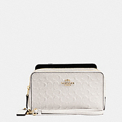 DOUBLE ZIP PHONE WALLET IN SIGNATURE DEBOSSED PATENT LEATHER - f54808 - IMITATION GOLD/CHALK