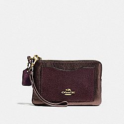 COACH F54810 - CORNER ZIP WRISTLET IN COLORBLOCK LI/OXBLOOD/BRONZE