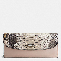 COACH F54821 Soft Wallet In Python Embossed Leather SILVER/GREY BIRCH MULTI