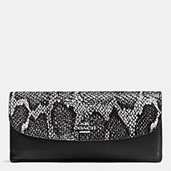COACH F54821 Soft Wallet In Python Embossed Leather SILVER/BLACK MULTI