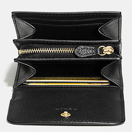 COACH f54843 ACCORDION CARD CASE IN CROSSGRAIN LEATHER IMITATION GOLD/BLACK