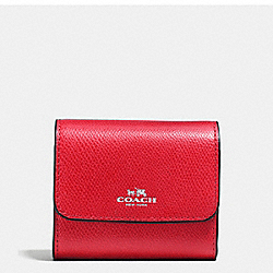 COACH F54843 Accordion Card Case In Crossgrain Leather SILVER/BRIGHT RED