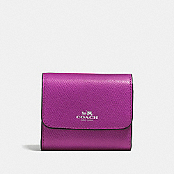 COACH F54843 Accordion Card Case In Crossgrain Leather SILVER/HYACINTH