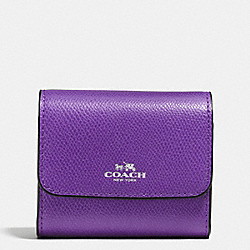 COACH F54843 Accordion Card Case In Crossgrain Leather SILVER/PURPLE
