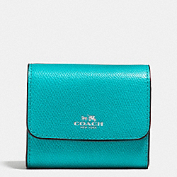COACH F54843 Accordion Card Case In Crossgrain Leather SILVER/TURQUOISE