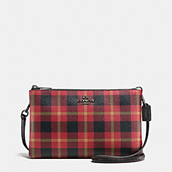 COACH F54863 Lyla Crossbody In Riley Plaid Coated Canvas QB/TRUE RED MULTI