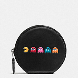 COACH F54871 Pac Man Round Coin Case In Calf Leather ANTIQUE NICKEL/BLACK