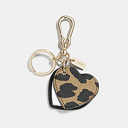 COACH F54917 Leather Deer Print Mirror Heart Bag Charm GOLD/WATERMELON