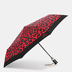 COACH F54928 Leopard Print Umbrella SILVER/WATERMELON
